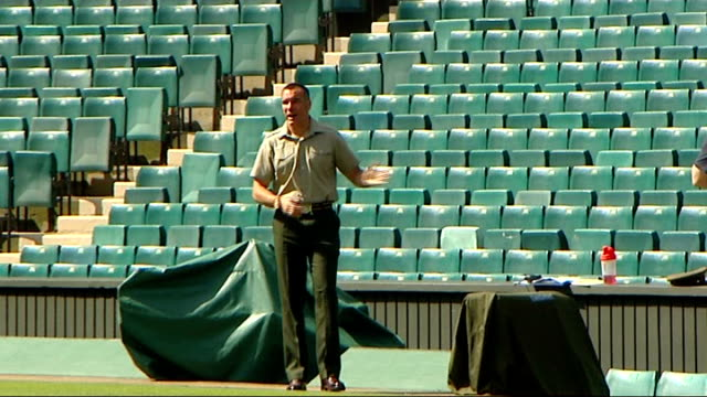 day one england london wimbledon ext various of groundsman marking lines on wimbledon tennis courts / various of officials directing others sot /... - ground staff stock videos & royalty-free footage