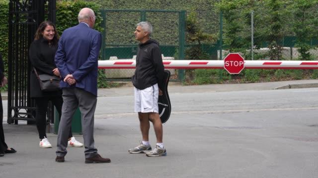wimbledon tennis club chairman ian hewitt and mayor of london sadiq khan arrive at wimbledon tennis club at wimbledon on september 4 2020 in london... - chairperson stock videos & royalty-free footage