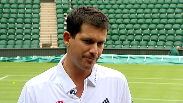 wimbledon tournament 2011 preview: henman and borg interview; - talks of the support of the home crowd / talks of the importance of the wimbledon... - グランドキーパー点の映像素材/bロール