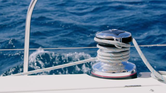 ws winch of a sailing sailboat - rope stock videos & royalty-free footage