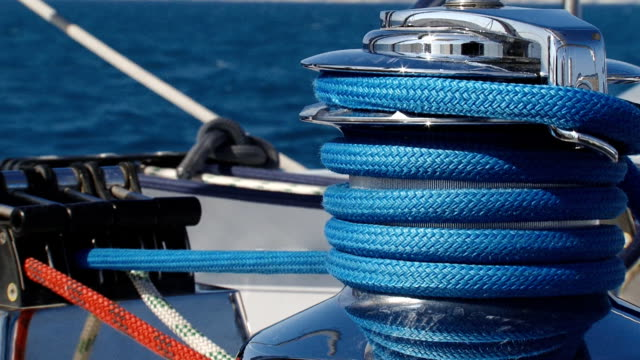Winch on sailing yacht