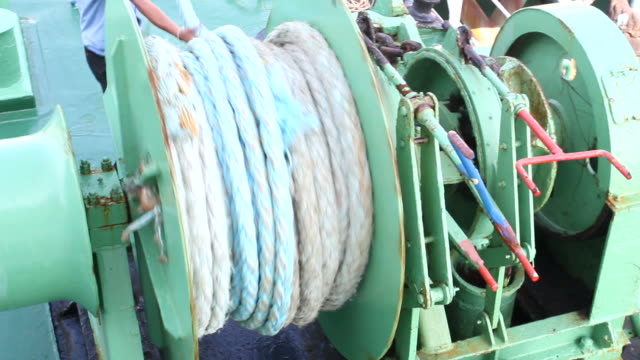 winch with rope on the ferry - cable stock videos & royalty-free footage