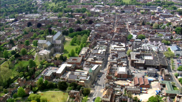 winchester  - aerial view - england,  hampshire,  winchester district,  united kingdom - hampshire england stock videos and b-roll footage