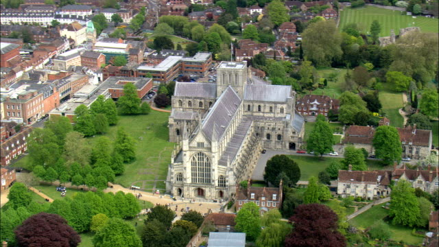 winchester cathedral  - aerial view - england,  hampshire,  winchester district,  united kingdom - hampshire england stock videos and b-roll footage