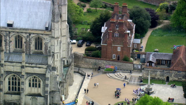 winchester cathedral entrance - aerial view - england,  hampshire,  east hampshire,  united kingdom - hampshire england stock videos and b-roll footage