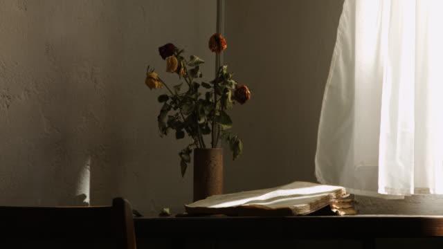 vidéos et rushes de wind blowing curtain in an old study room - bouquet de fleurs