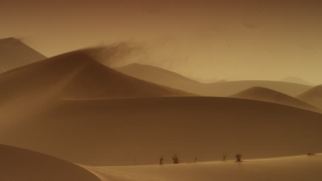 wind blows sand over crest of desert dune at sunset, uae - bbc stock videos and b-roll footage