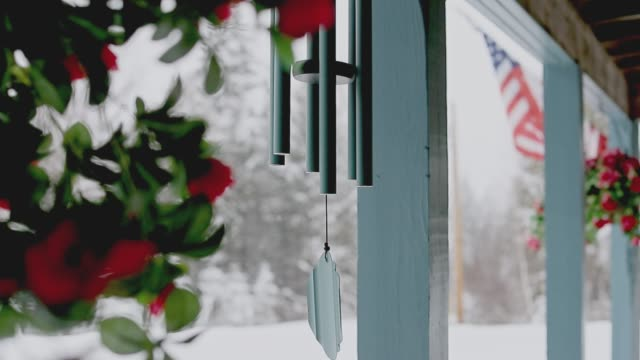 wind chimes at the entrance of an american holiday home in vermont - chalet stock videos & royalty-free footage