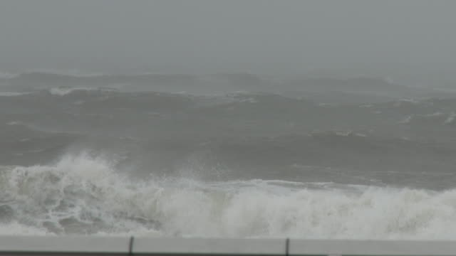 wind driven torrential rain falls as powerful waves roll towards the shoreline during tropical storm isaias on rockaway beach queens new york new york - scott mcpartland stock videos & royalty-free footage