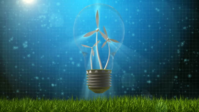 wind energy and light bulb concept - economia video stock e b–roll