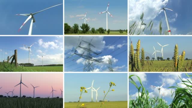 vídeos y material grabado en eventos de stock de energía eólica de montaje - pantalla dividida