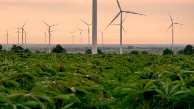 wind energy turbines are one of the cleanest, renewable electric energy source. electricity is generated by electric generators hidden inside turbine - risorse sostenibili video stock e b–roll
