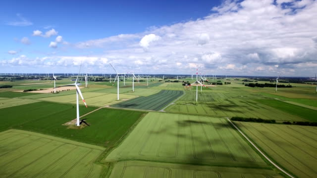 wind farm aerial view - schleswig holstein stock videos & royalty-free footage