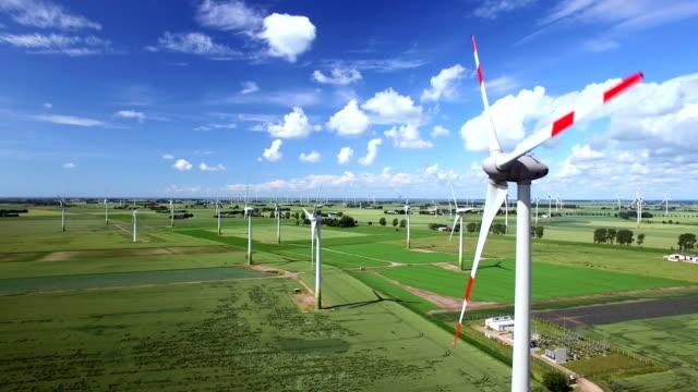 wind farm aerial view - schleswig holstein stock-videos und b-roll-filmmaterial