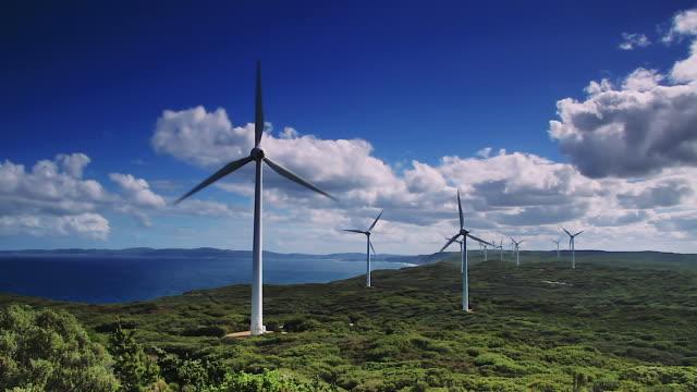 wind farm along albany coastline in western australia - wind power stock videos & royalty-free footage
