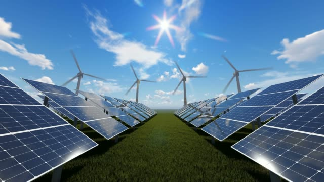 wind farm and solar panels - power equipment stock videos & royalty-free footage