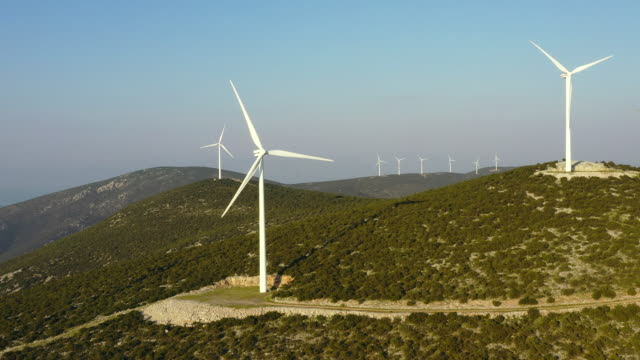 wind farm at ermionida - power supply stock videos & royalty-free footage