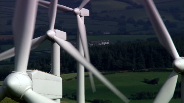 wind farm at trefenter  - aerial view - wales, ceredigion, llangwyryfon, united kingdom - power line stock videos and b-roll footage