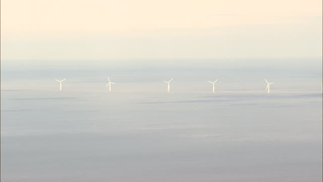 Wind Farm Off South East Coast  - Aerial View - Leinster,  County Wexford,  helicopter filming,  aerial video,  cineflex,  establishing shot,  Ireland