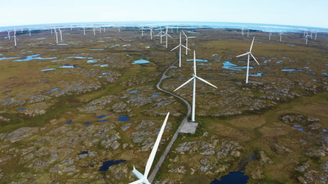 wind generators in the arctic tundra. norway, smola island. aerial view. - nordic countries stock videos & royalty-free footage
