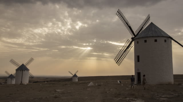 wind mill of don quixote in the twilight 1 - sustainable tourism stock videos & royalty-free footage
