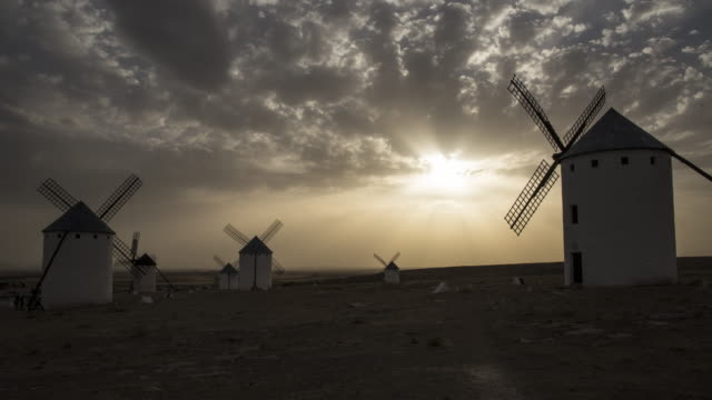 wind mill of don quixote in the twilight 2 - pueblo bonito stock videos & royalty-free footage