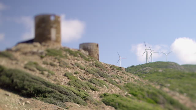 Wind mills next to castel, Tilt-Shift, Castle Da Mare, Corsica