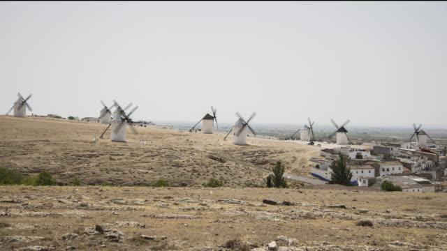 wind mills of don quixote (wide view) - pueblo bonito stock videos & royalty-free footage