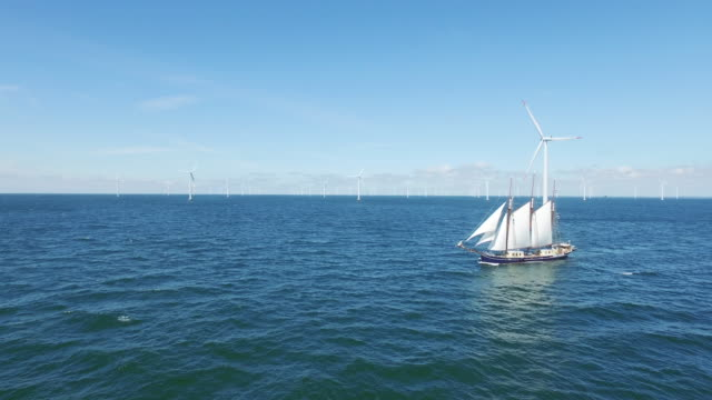 wind power - sails and turbine - sailing ship stock videos & royalty-free footage