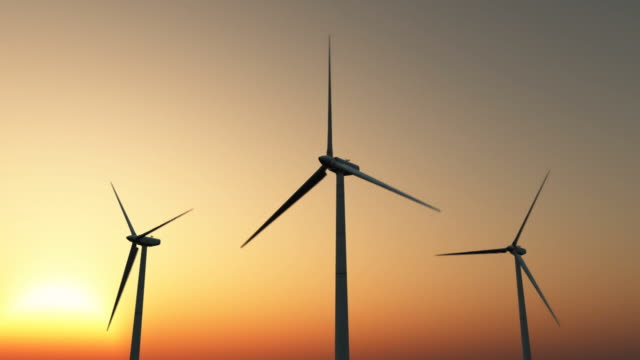 wind power - sunset - three objects stock videos & royalty-free footage