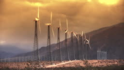 Wind Power Turbines (Sunset)