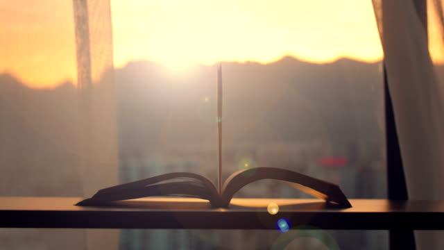 vidéos et rushes de livre de lecture de vent - courbe