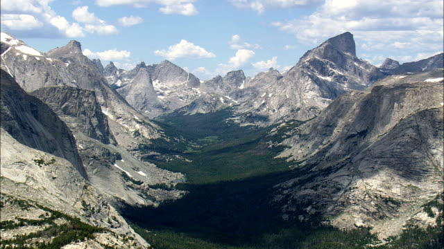 Wind River Mountains In Shoshone National Forest  - Aerial View - Wyoming,  Fremont County,  helicopter filming,  aerial video,  cineflex,  establishing shot,  United States