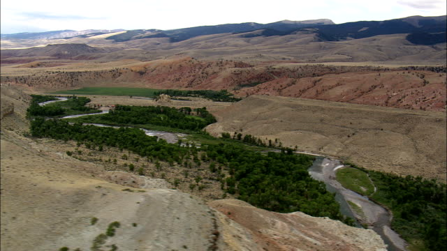 Wind River South Of Dubois  - Aerial View - Wyoming,  Fremont County,  helicopter filming,  aerial video,  cineflex,  establishing shot,  United States