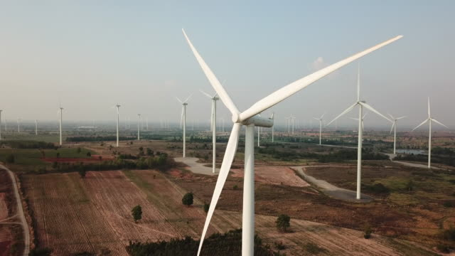 wind turbine aerial - power station stock videos & royalty-free footage