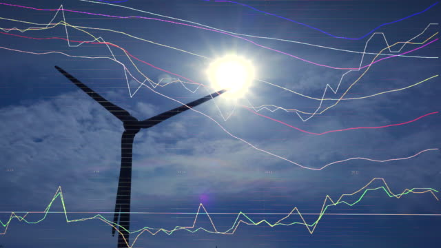 wind turbine and charts and graphs
