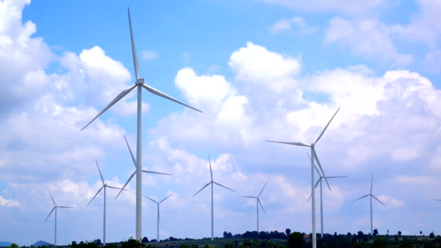 Wind turbine and cloud sky ,4K video