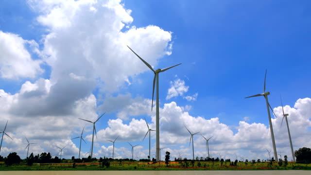 Wind turbine and cloud sky ,4K video