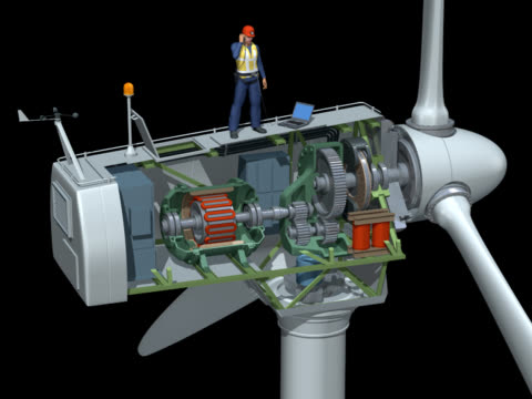 wind turbine animation - generator stock videos and b-roll footage