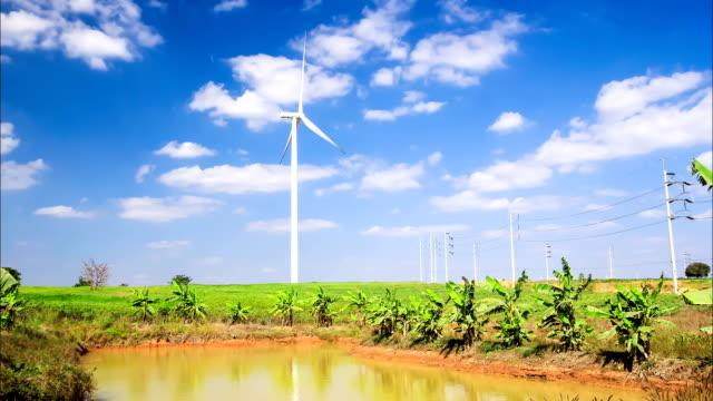 turbina eolica, concetto di energia pulita - in buona condizione video stock e b–roll