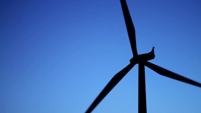 Wind Turbine Closeup on Blue