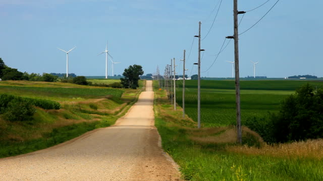 wind turbine country road - country road stock videos & royalty-free footage