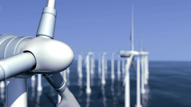 wind turbine farm at sea #5 - turbine stock videos & royalty-free footage