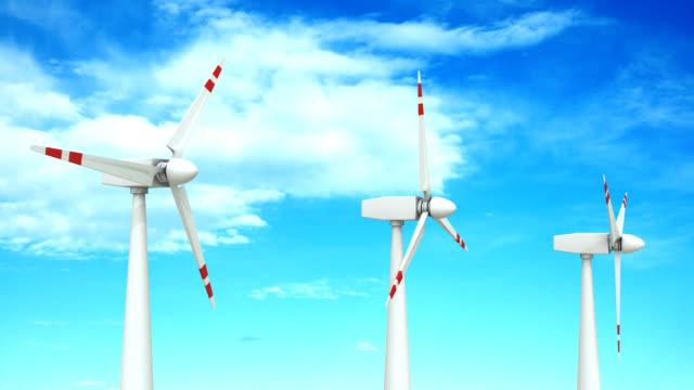 vídeos de stock e filmes b-roll de turbina eólica farm - matte image technique