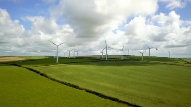 Wind turbine fields in Cornwall - 4K