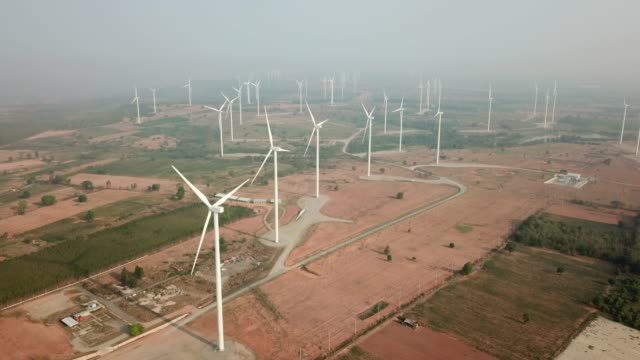 wind turbine from aerial view - generator stock videos & royalty-free footage