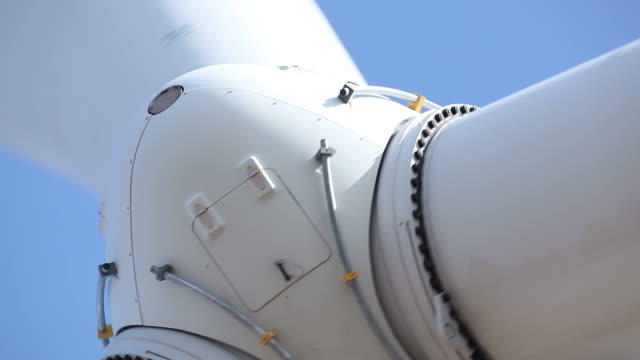 wind turbine hub closeup detail - windmill stock videos & royalty-free footage