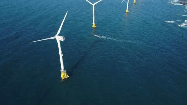 wind turbine / jeju-do, south korea - floating on water stock videos & royalty-free footage