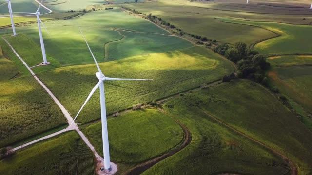 wind turbine landscape aerial view - iowa stock videos & royalty-free footage