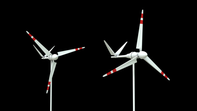 wind turbine loop whit alpha matte - matte stock videos and b-roll footage